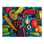 Colorful Fruits and Vegetables on Blue postcard