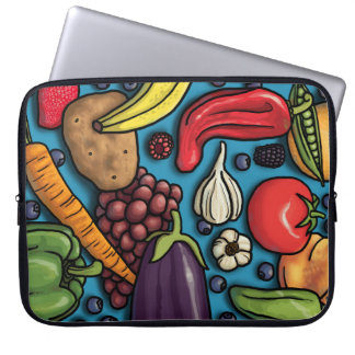 Colorful Fruits and Vegetables on Blue sleeve Laptop Computer Sleeve