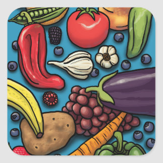 Colorful Fruits and Vegetables on Blue Square Sticker