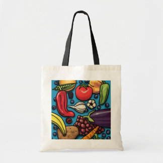 Colorful Fruits and Vegetables on Blue tote