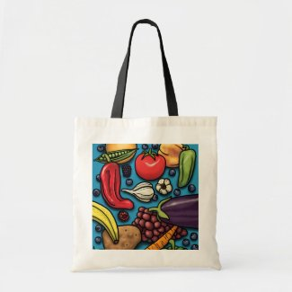 Colorful Fruits and Vegetables on Blue tote Canvas Bag