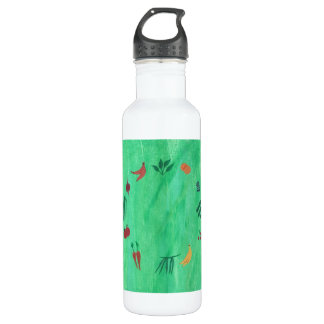 Colorful Fruits and Vegetables on Green Water Bottle