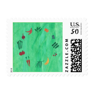 Colorful Fruits and Vegetables Postage Stamps