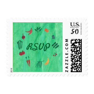 Colorful Fruits and Vegetables RSVP Postage Stamps