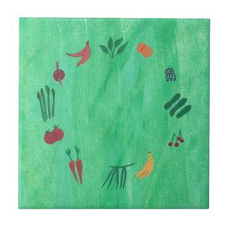 Colorful Fruits and Vegetables Trivets Ceramic Tile