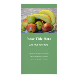 colorful fruits image print. Banana, apples, pears Photo Card Template