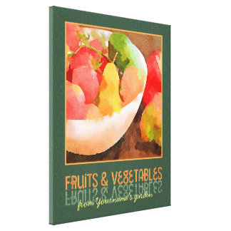 Colorful Fruits & Vegetables Digital Watercolor Canvas Print