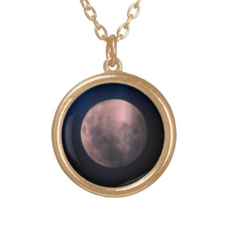 Colorful Full Lunar Moon Rainbow Sky Round Pendant Necklace