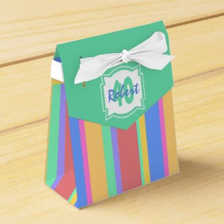 Colorful fun 40th Birthday Party Stiped Favor Box