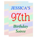 "[ Thumbnail: Colorful, Fun ""97th Birthday Soiree"" Invitation ]"