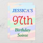 "[ Thumbnail: Colorful, Fun ""97th Birthday Soiree"" Invitation ]"