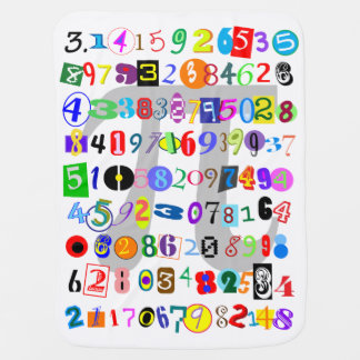 Colorful, Fun, and Cute Depiction of Pi Calculated Swaddle Blanket