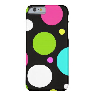 Colorful Fun Big Polka Dots on Black Barely There iPhone 6 Case