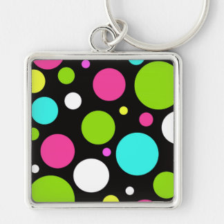 Colorful Fun Big Polka Dots on Black Silver-Colored Square Keychain