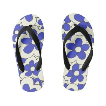 Beach Themed Colorful Fun Bright Flower Design Kid's Flip Flops