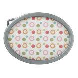 Colorful Fun Circles and Polka Dots Pattern Belt Buckle