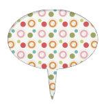 Colorful Fun Circles and Polka Dots Pattern Cake Picks