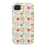 Colorful Fun Circles and Polka Dots Pattern iPhone 4 Cases