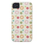 Colorful Fun Circles and Polka Dots Pattern iPhone 4 Case