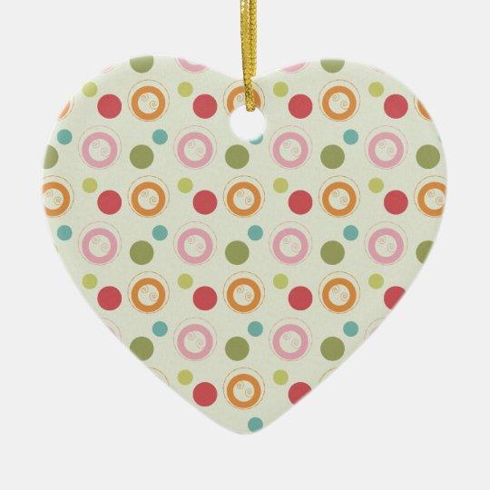 Colorful Fun Circles and  Polka Dots Pattern Ceramic Ornament