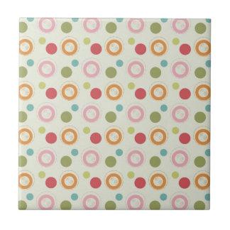 Colorful Fun Circles and  Polka Dots Pattern Ceramic Tile