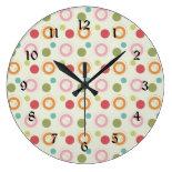 Colorful Fun Circles and Polka Dots Pattern Clock