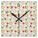 Colorful Fun Circles and Polka Dots Pattern Wall Clock
