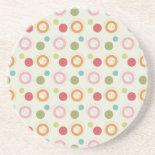 Colorful Fun Circles and Polka Dots Pattern Beverage Coaster