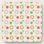 Colorful Fun Circles and Polka Dots Pattern Beverage Coasters