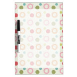 Colorful Fun Circles and Polka Dots Pattern Dry-Erase Whiteboards