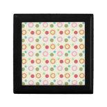 Colorful Fun Circles and Polka Dots Pattern Trinket Boxes