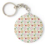 Colorful Fun Circles and Polka Dots Pattern Key Chains