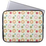 Colorful Fun Circles and Polka Dots Pattern Laptop Computer Sleeve
