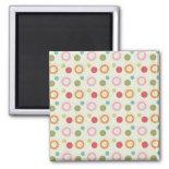 Colorful Fun Circles and Polka Dots Pattern Refrigerator Magnet