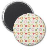 Colorful Fun Circles and Polka Dots Pattern Refrigerator Magnets