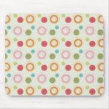 Colorful Fun Circles and Polka Dots Pattern Mousepad