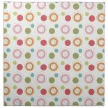 Colorful Fun Circles and Polka Dots Pattern Napkin