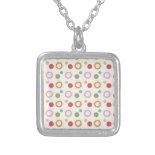 Colorful Fun Circles and Polka Dots Pattern Custom Necklace