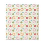 Colorful Fun Circles and Polka Dots Pattern Memo Notepad