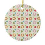 Colorful Fun Circles and Polka Dots Pattern Ornament