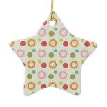 Colorful Fun Circles and Polka Dots Pattern Christmas Tree Ornament