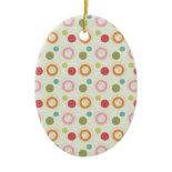 Colorful Fun Circles and Polka Dots Pattern Christmas Tree Ornaments
