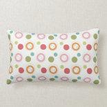 Colorful Fun Circles and Polka Dots Pattern Pillow