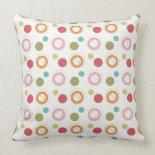 Colorful Fun Circles and Polka Dots Pattern Pillows