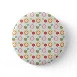 Colorful Fun Circles and Polka Dots Pattern Pin