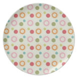 Colorful Fun Circles and Polka Dots Pattern Party Plates