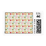 Colorful Fun Circles and Polka Dots Pattern Postage Stamps