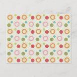 Colorful Fun Circles and Polka Dots Pattern Postcard