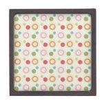 Colorful Fun Circles and Polka Dots Pattern Premium Keepsake Boxes