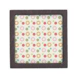 Colorful Fun Circles and Polka Dots Pattern Premium Keepsake Box